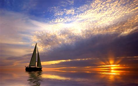 sailing boat in the calm sea at sunset wallpapers and - Sailing Boat In The Sea