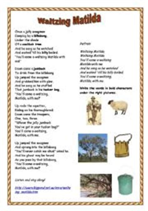 printable lyrics waltzing matilda english teaching worksheets matilda