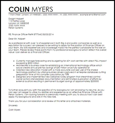finance officer cover letter sample livecareer