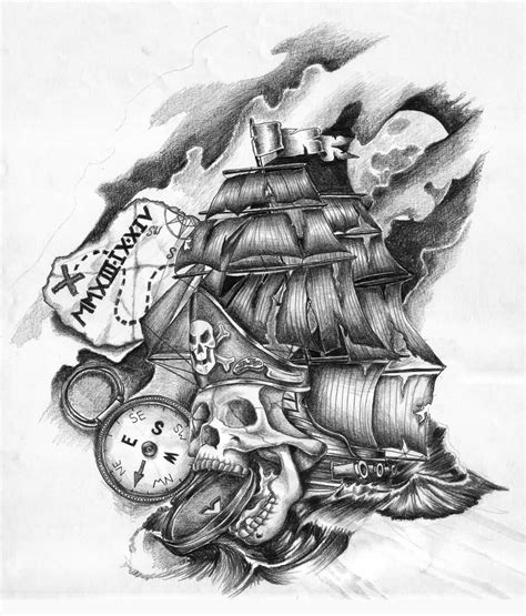 pirate tattoos designs black outline pirate ship with octopus design