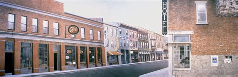 stock photo large city or small town brick building