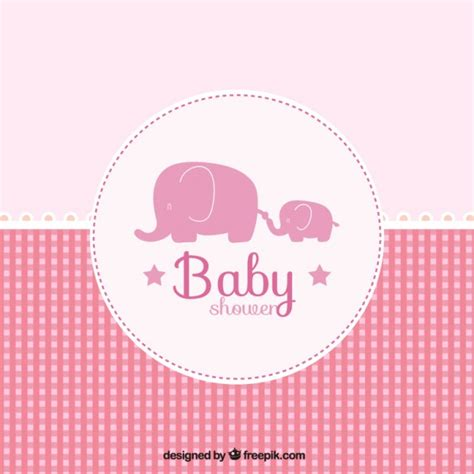 Baby Pink Bb pink baby shower card in checkered style vector free