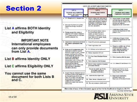 direct tax sections list authorization to complete i 9 forms