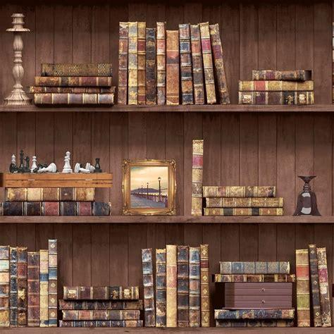holden vintage book case pattern wallpaper faux effect wood shelf library roll ebay
