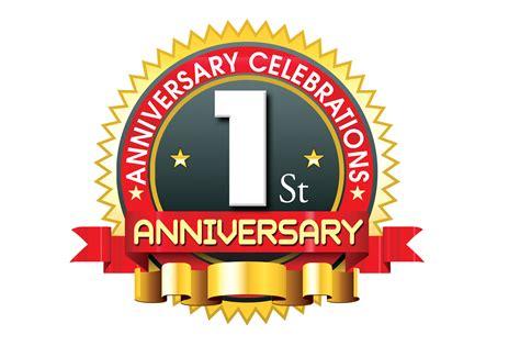 1st anniversary logo with red ribbon naveengfx