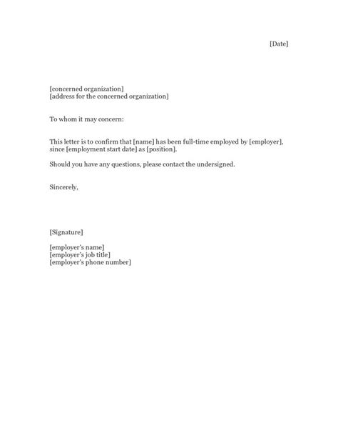 Employment Letter Format For Proof Of Employment Letter Sle Proof Of Employment