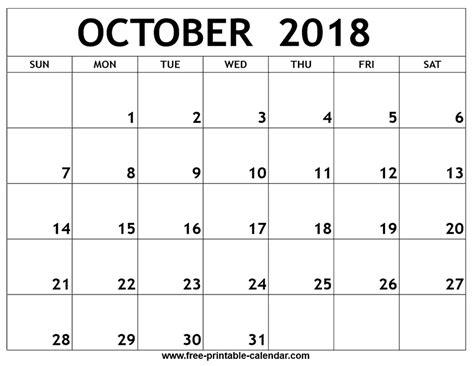 printable calendar 2018 october october 2018 printable calendar
