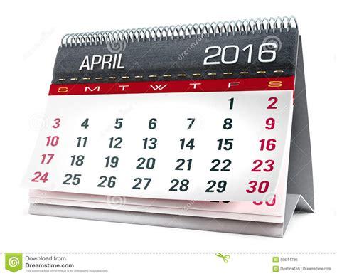 Calendrier 7 Avril Avril 2016 Calendrier De Bureau Illustration Stock Image