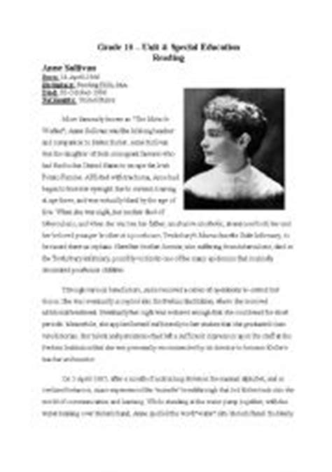 helen keller biography for third grade english worksheets anne sullivan teacher of miraculous