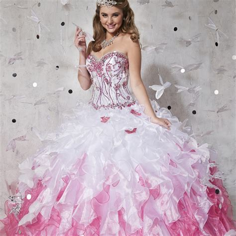 pink and white dress shining ball gown long quinceanera dresses 2016 pink and