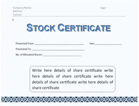 stock certificate template free word form pdf excel