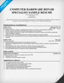 Computer Hardware Repair Sle Resume by Computer Repair Technician Resume Student Resume Template