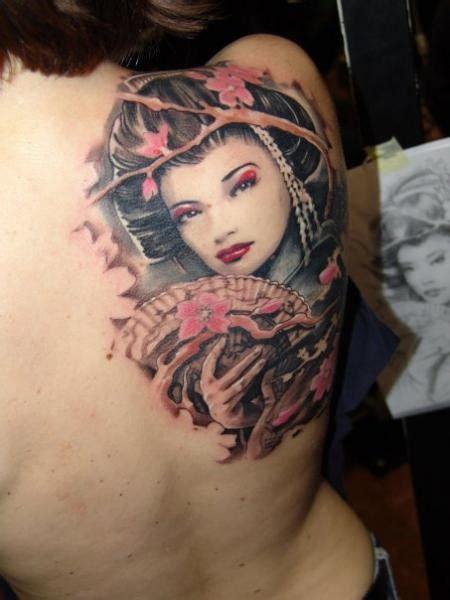 geisha tattoo on dark skin shoulder japanese geisha tattoo by dark art tattoo