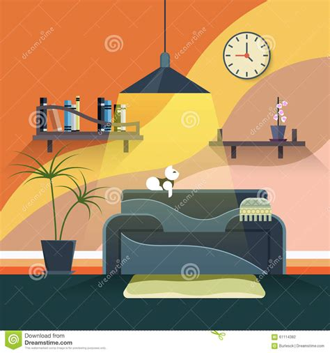 modern home design vector interior of modern living room in flat design stock vector