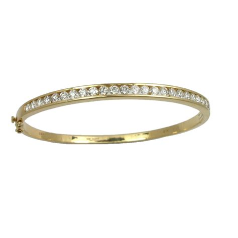 Handmade Diamonds - 18ct yellow gold bangle bracelet affair