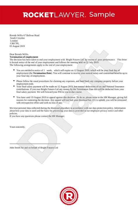 letter employer unfair dismissal letter template