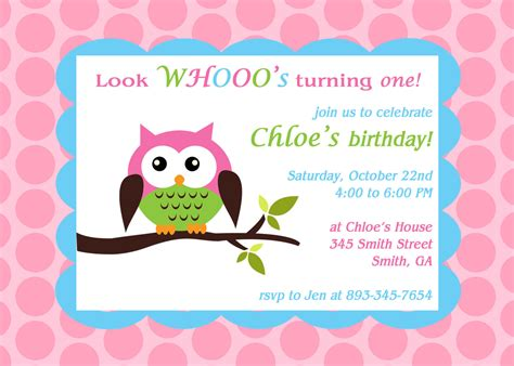 owl theme printable owl theme birthday party invitation