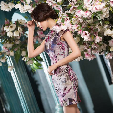 Sleeve Qipao fabulous print cap sleeve qipao cheongsam dress c