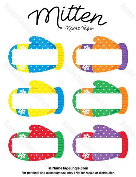 printable mitten name tags