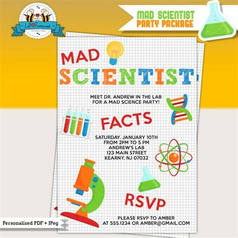 printable science party decorations mad scientist birthday party printable invitations mad