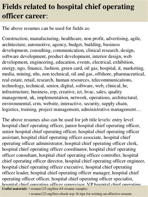 Hospital Chief Operating Officer Sle Resume by Top 8 Hospital Chief Operating Officer Resume Sles