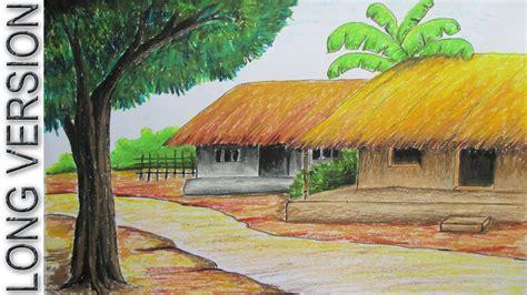draw village hut  pastel color long version