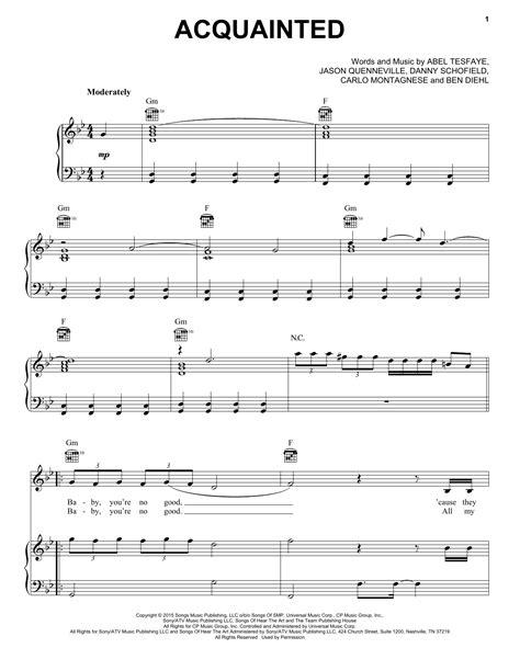 printable lyrics to earned it acquainted sheet music direct