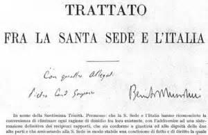 patti lateranensi testo patti lateranensi cosa sono riassunto sintesi storia e
