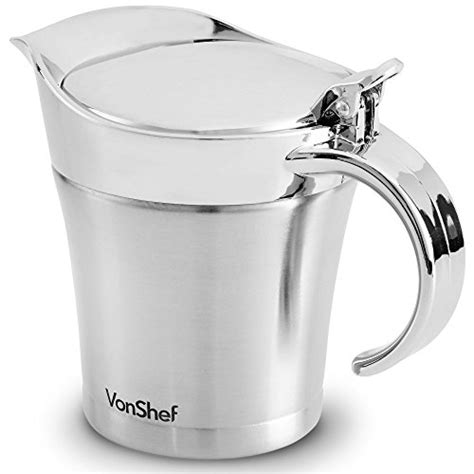 insulated gravy boat with lid vonshef double wall insulated stainless steel gravy boat