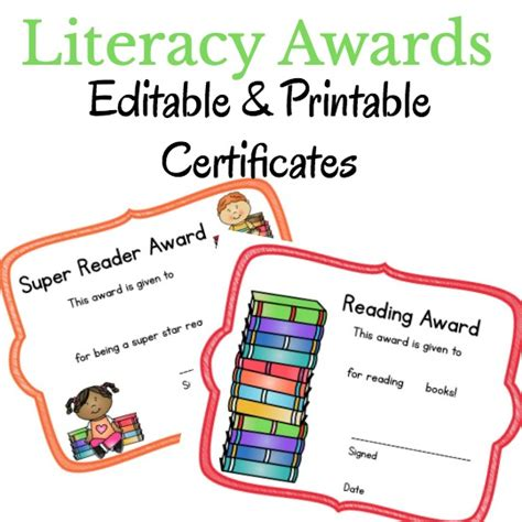 template for reading award certificate literacy printable certificates that you can edit