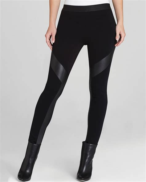 faux leather lyst bcbgmaxazria leggings luca faux leather contrast in