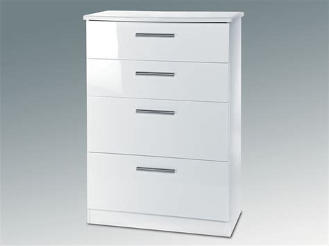 White Assembled Chest Of Drawers by Asc Assembled Grosvenor White Gloss 4 Drawer Chest Of Drawers