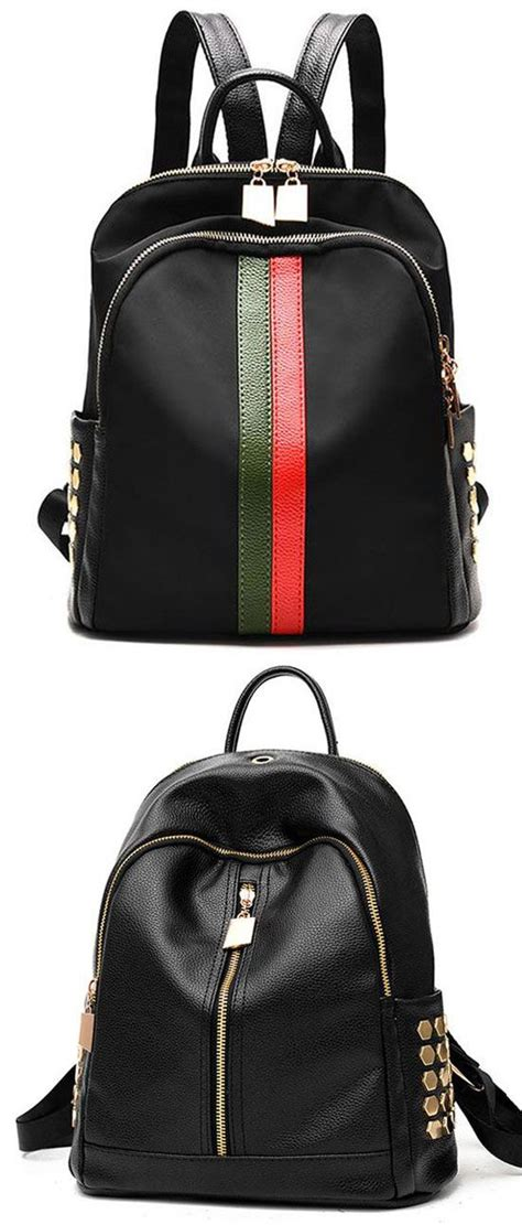 Stripe Oxford Backpack unique black pu green vertical stripes bag frosted