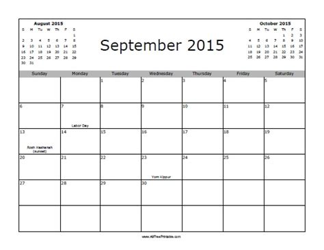printable calendars september 2015 september 2015 calendar with holidays free printable