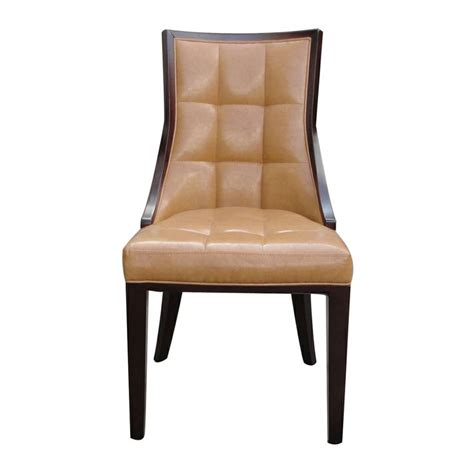 Overstock Leather Dining Chairs Barrel Brown Finish Leather Dining Chair Set Of 2
