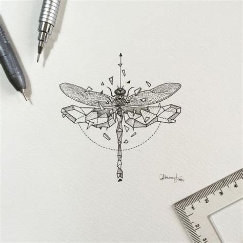 grey half geometric dragonfly tattoo design tattooimages biz