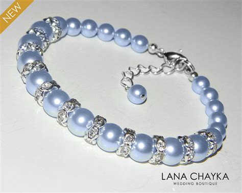 light blue bracelet light blue pearl bracelet wedding blue pearl bracelet
