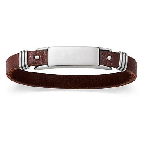 mens leather id bracelets s leather silver id bracelet avery