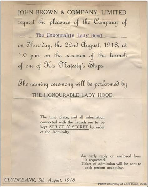 Invitation Letter Launching H M S Association Battle Cruiser History Of H M S The Launching Of H M S