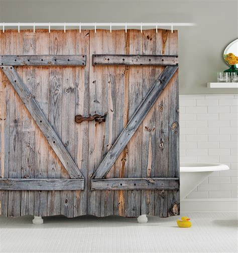 Shower Curtain Door Rustic Barn Door Shower Curtain Wood Plank Farm Vintage Distressed Fabric Decor Ebay