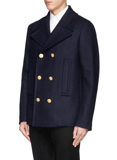 Valentino Gold Button Detail Jacket Review by Valentino Anchor Button Peacoat In Blue For Lyst