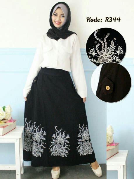 Baju 3887 Overall Mote Bordir rok hitam mote r344 baju style ootd
