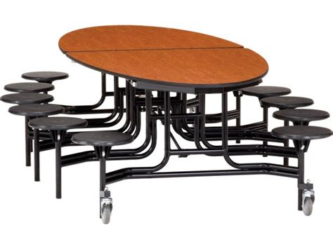 nps folding oval cafeteria table 12 stools met 125