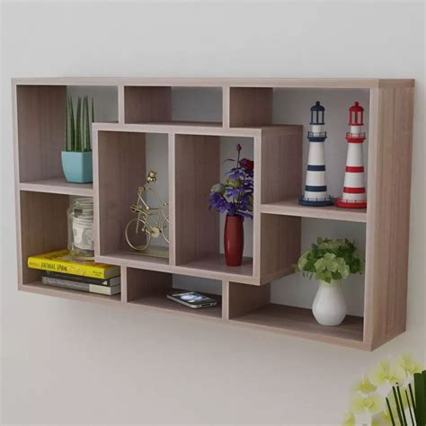 vidaxl co uk floating wall display shelf 8 compartments