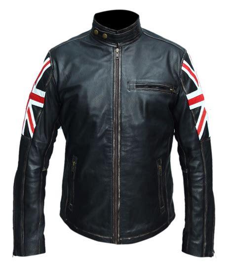 motorcycle style jacket uk flag vintage style motorcycle cafe racer biker leather