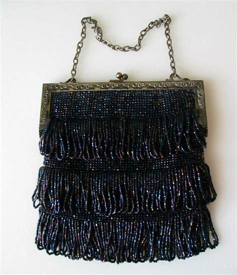 1920s beaded purse vintage antique 1920 s glass irridescent beaded flapper