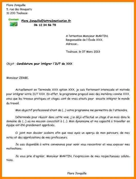 exemple lettre motivation dut lettre de motivation en