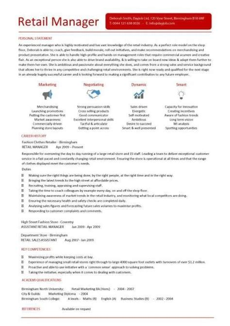 store manager cv template retail management resume the best letter sle