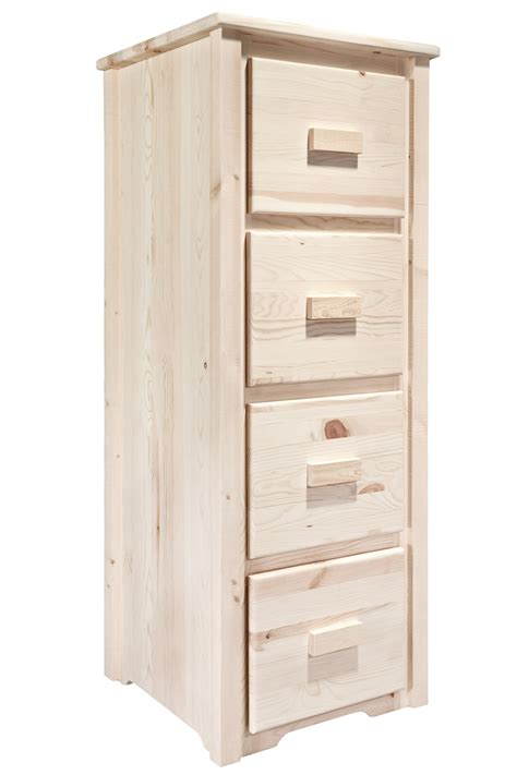homestead timber frame 4 drawer file cabinet stained