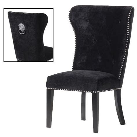 ring backed black velvet studded dining chair shropshire